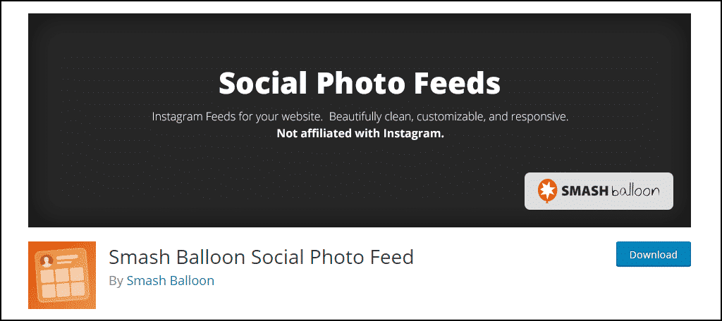 Social Photo Feed WordPress plugin