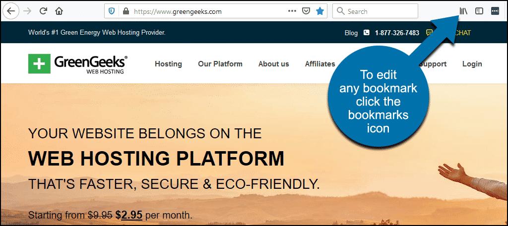 click the bookmarks icon