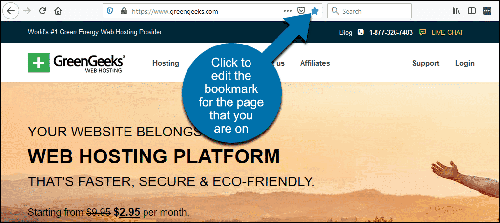 click the star icon to edit the bookmark for the current page in Firefox