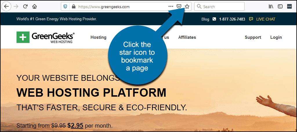 click the star icon to create a bookmark