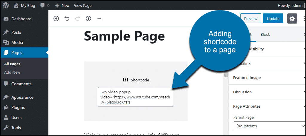 adding shortcode to a page