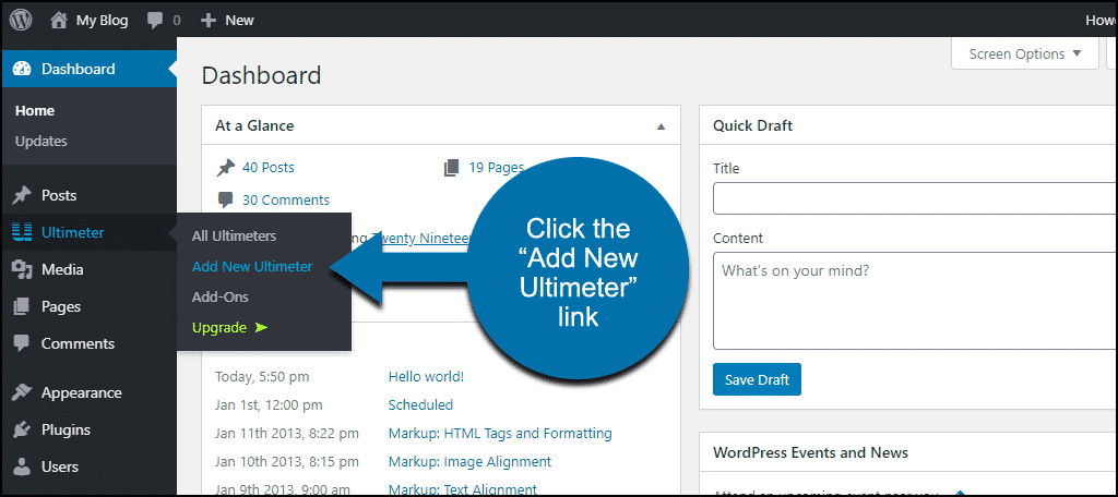 """click the """"Add New Ultimeter"""" link"""