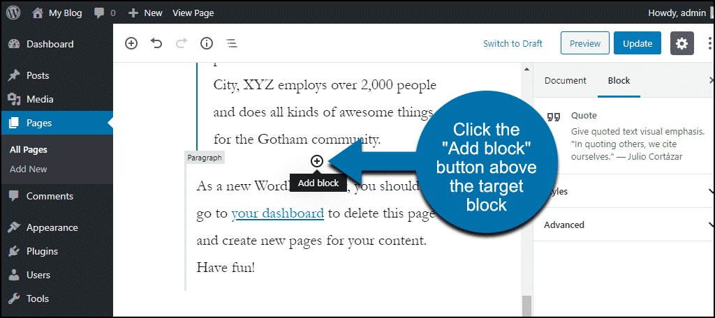 "click the ""Add block"" icon"
