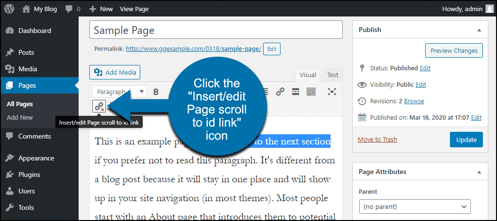 "click the ""Insert/edit Page scroll to id link"" icon"