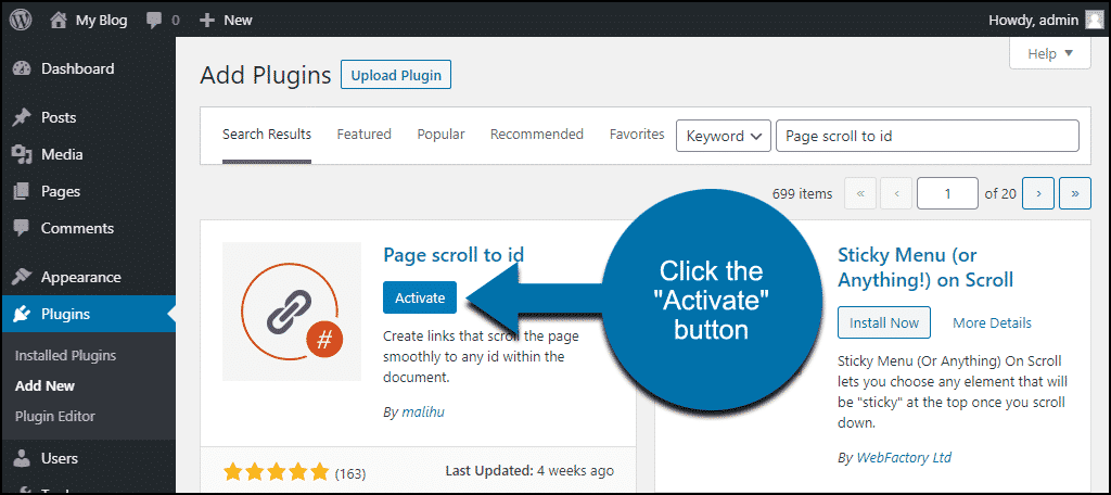 click to activate the WordPress Page scroll to id plugin