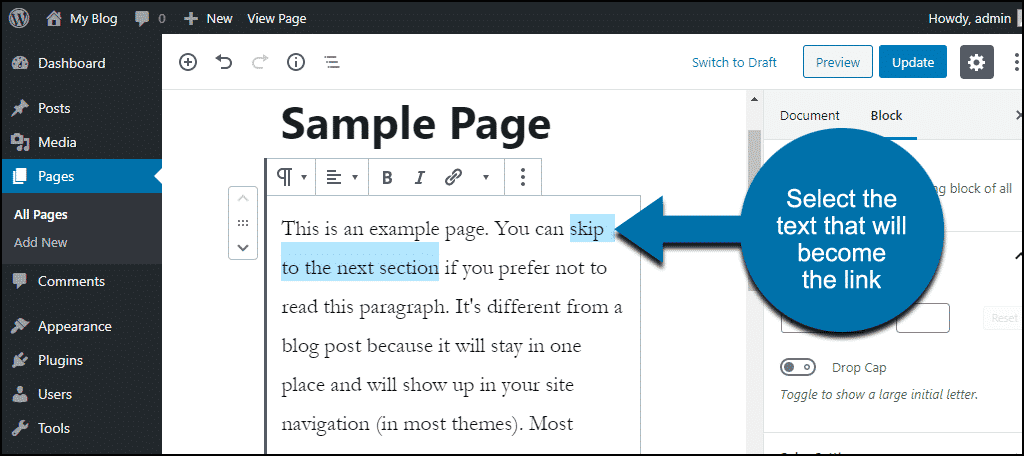 select text to link