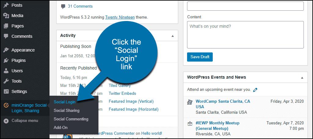 """click the """"Social Login"""" link"""