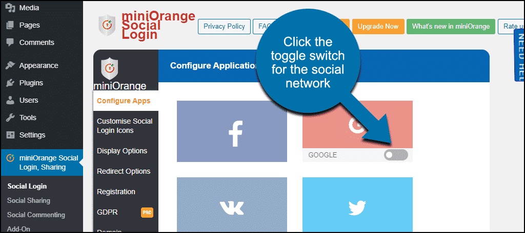 click the toggle switch for the network you want to add