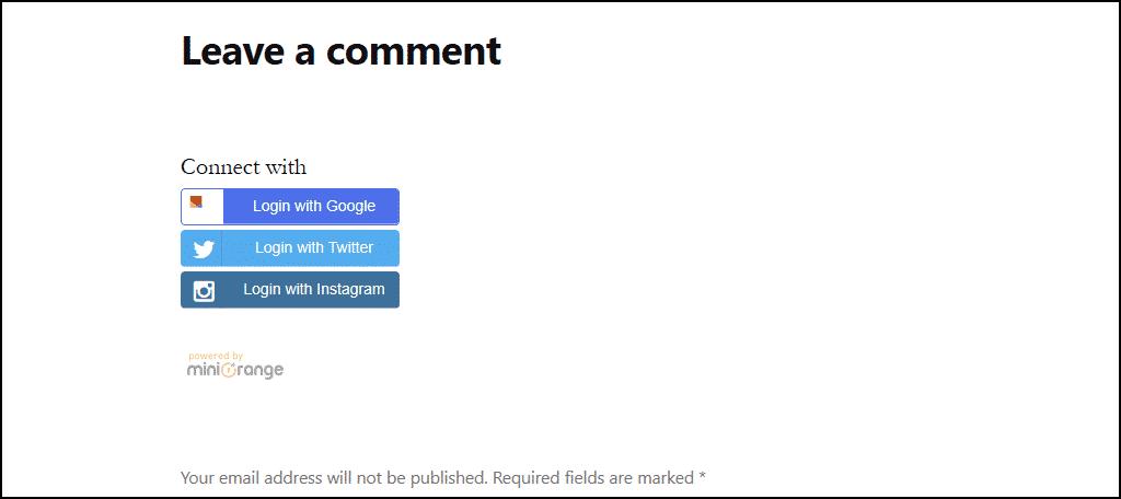 social login icons in comments sans serif