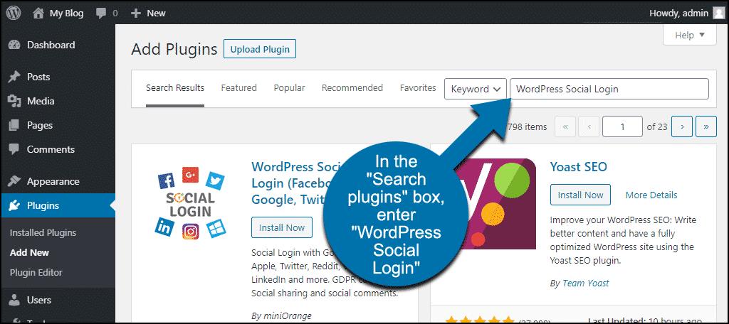 search for the WordPress Social Login plugin
