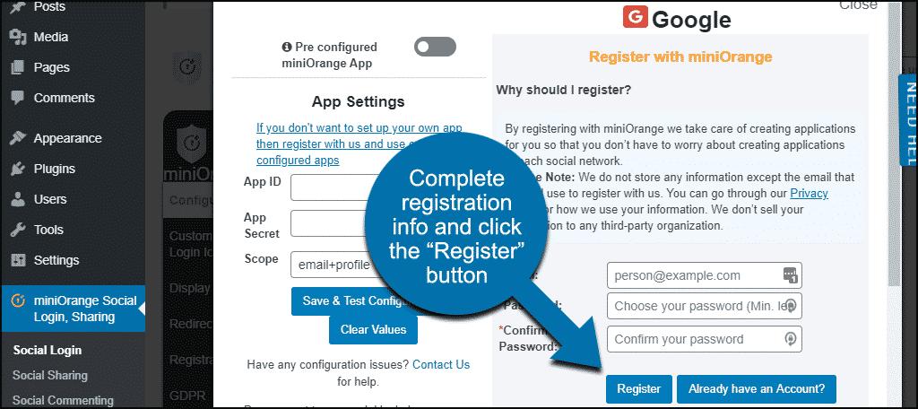 register with miniOrange