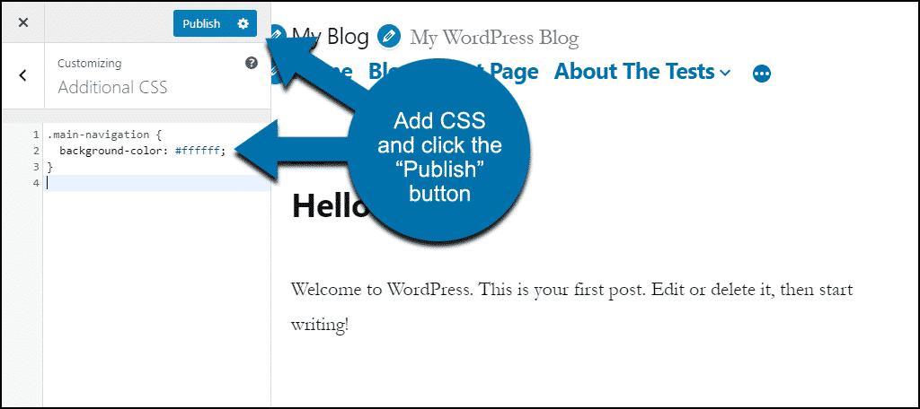 """enter CSS, click """"Publish"""""""