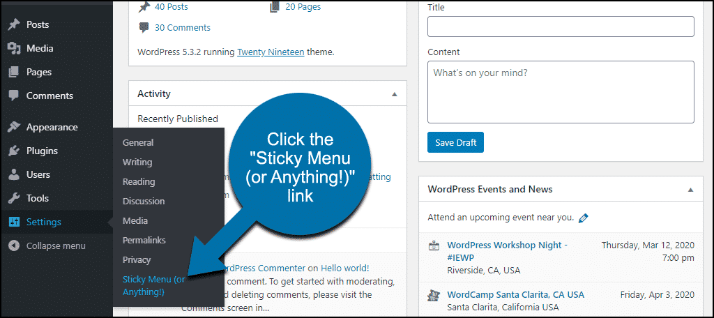"click the ""Sticky Menu (or Anything!)"" link"