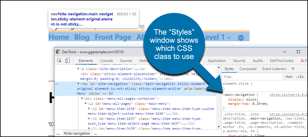 find CSS class