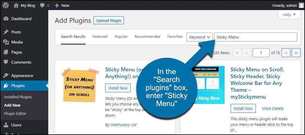 search for the WordPress Sticky Menu plugin