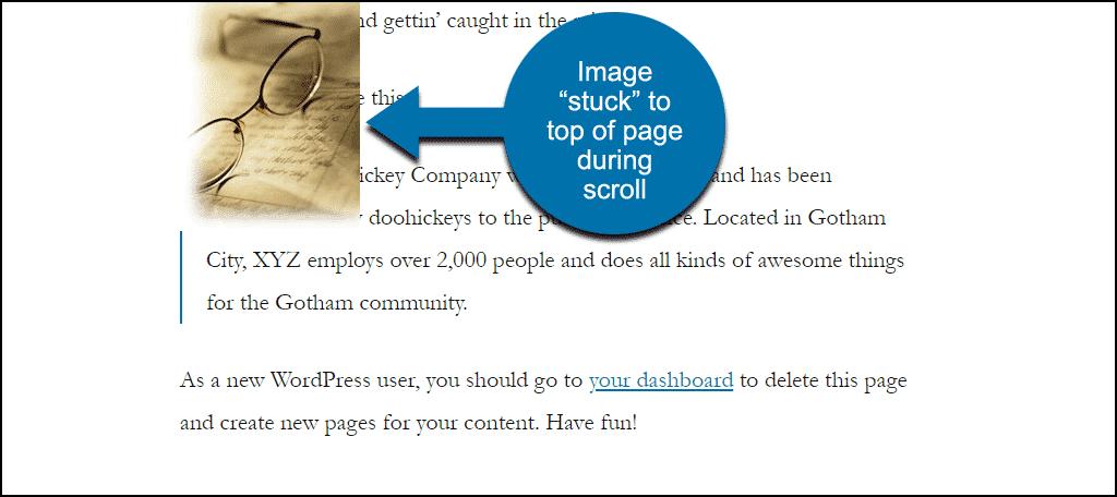 sticky image on the page