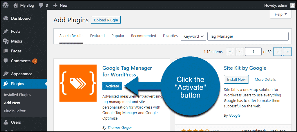 click to activate the Google Tag Manager for WordPress plugin