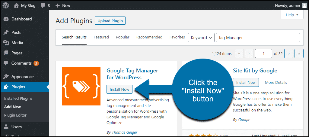 click to install the Google Tag Manager for WordPress plugin