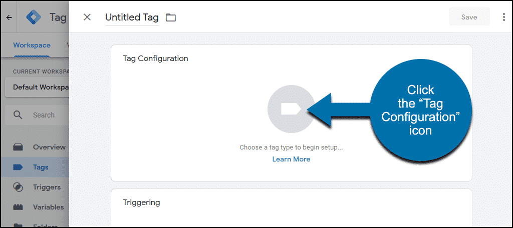 "click the ""Tag Configuration"" icon"