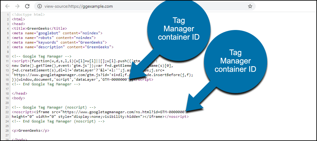 Tag Manager ID in page source
