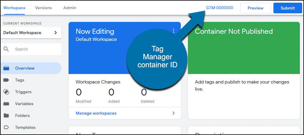 Tag Manager container ID