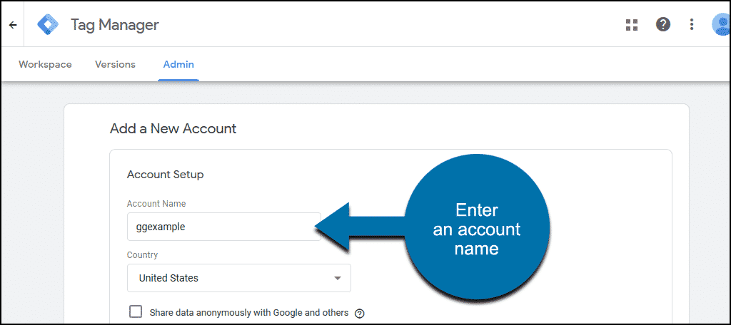 enter an account name