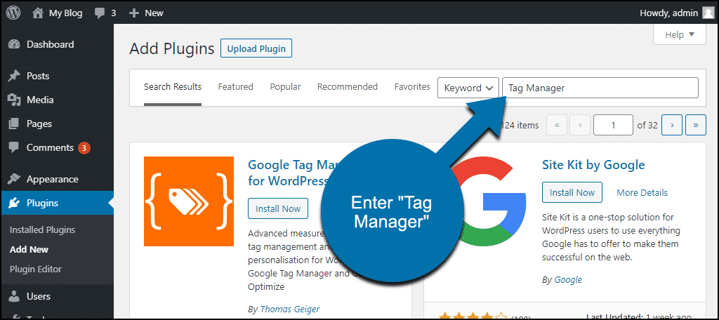 search for the Google Tag Manager for WordPress plugin