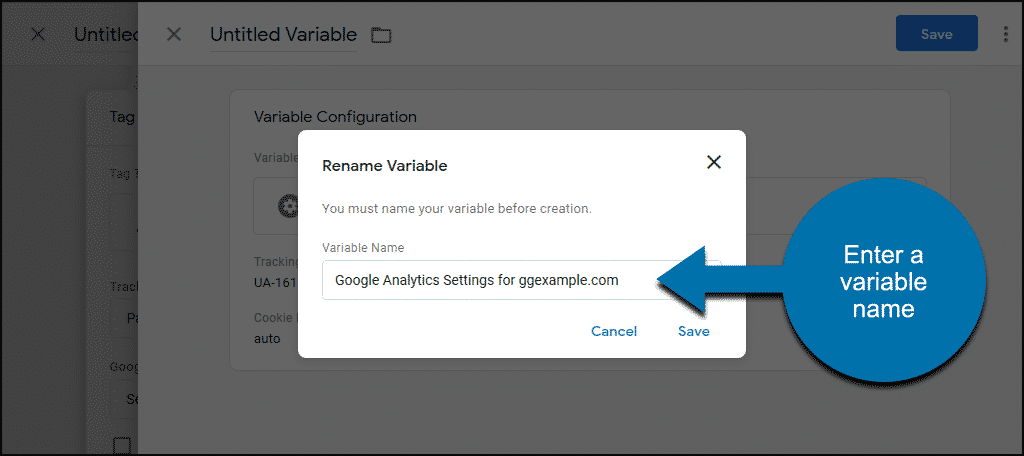 variable name popup