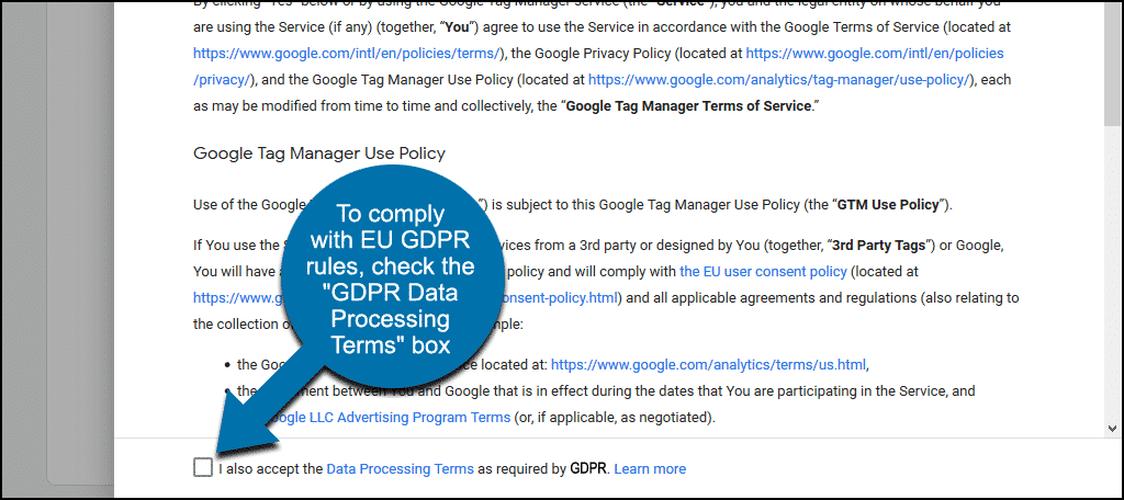 check the GDPR data processing box
