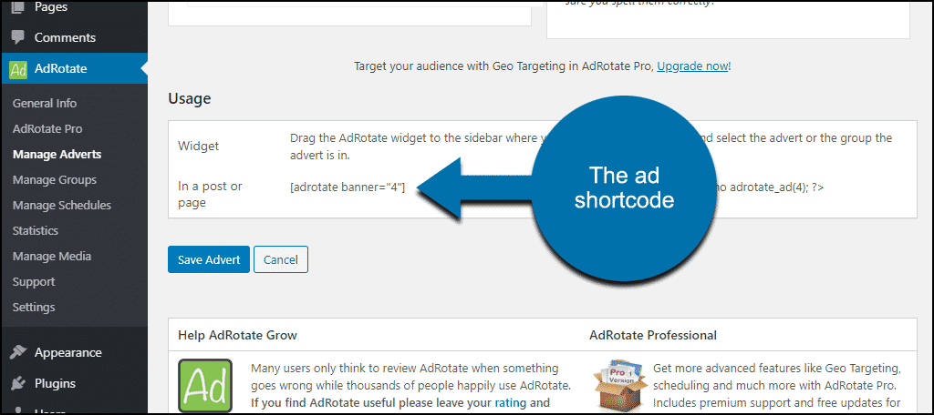 finding the ad shortcode
