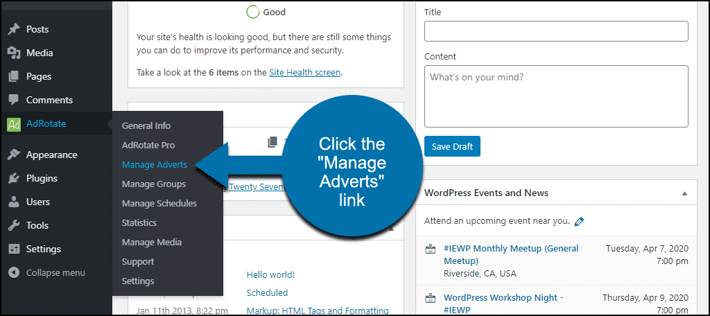 """click the """"Manage Adverts"""" link"""