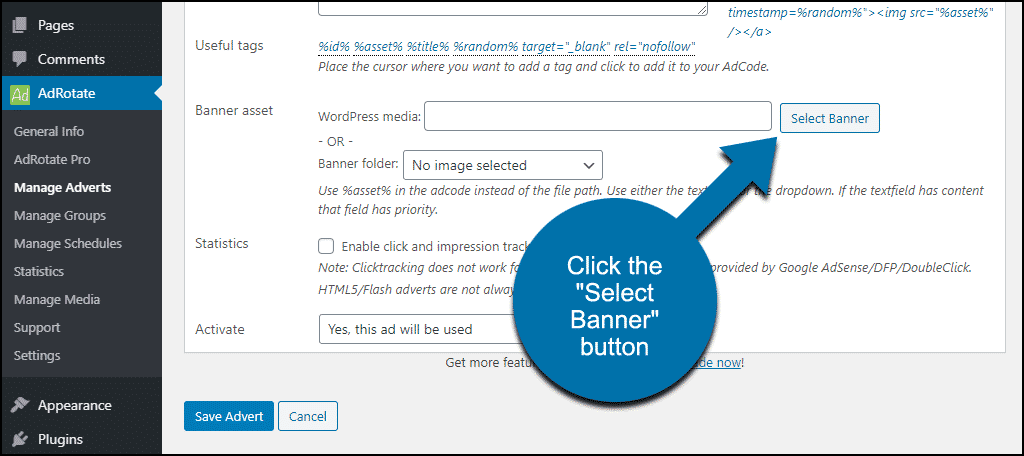 """click the """"Select Banner"""" button"""