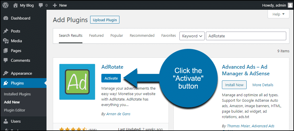 click to activate the WordPress AdRotate plugin