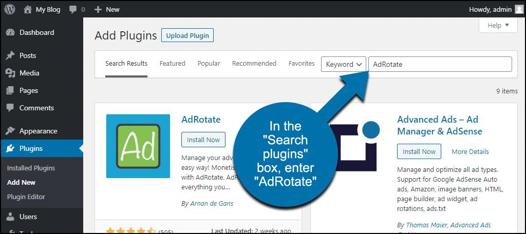 search for the WordPress AdRotate plugin