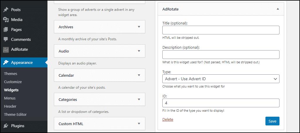 AdRotate widget settings