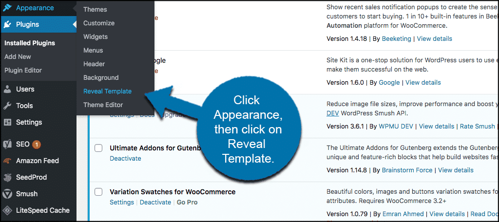 Click appearance then reveal template