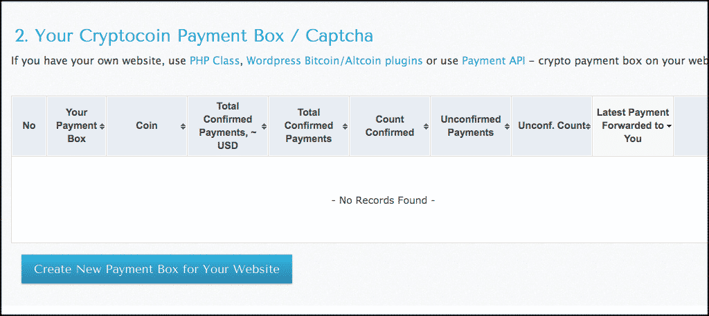 Create a New Payment Box