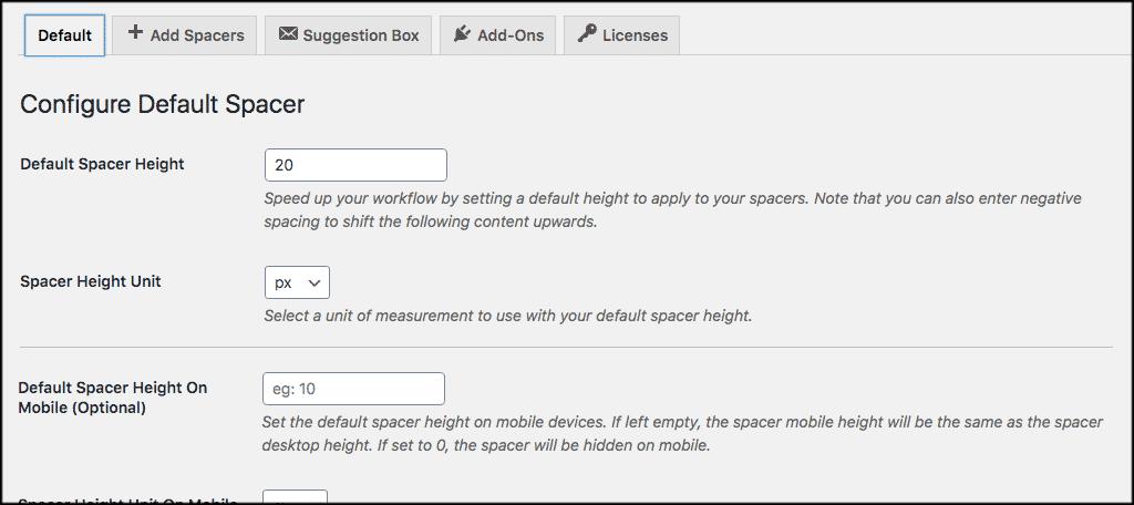 Default line spacing settings