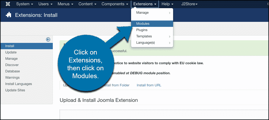 Click on extensions then on modules