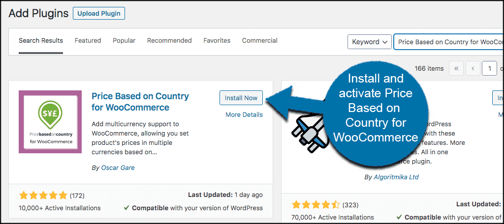 Install and activate prices woocommerce plugin