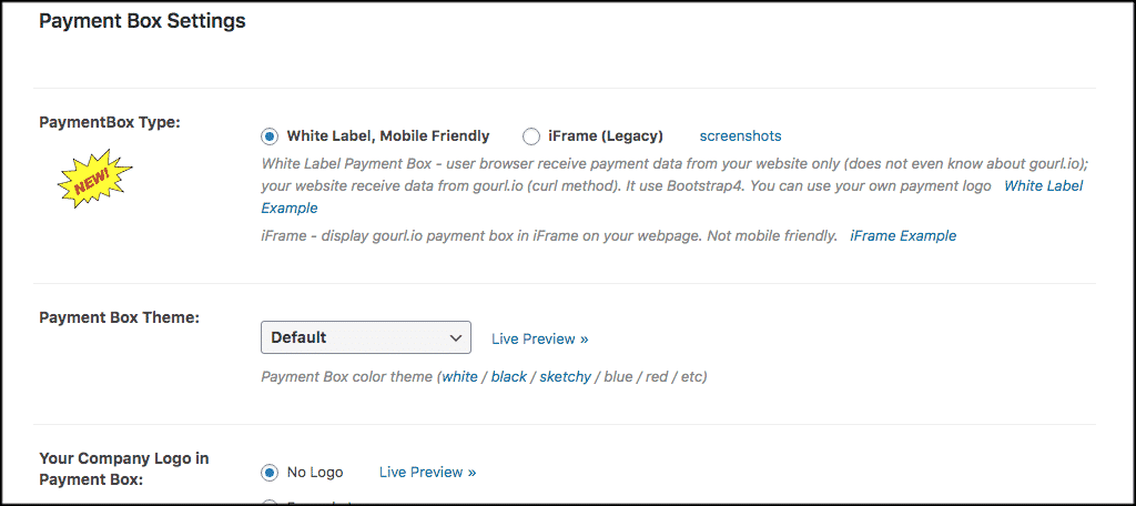 Payment box settings