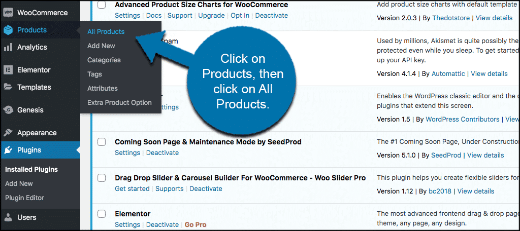 Click on products then click on all products