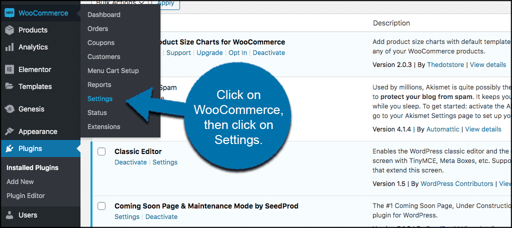 Click woocommerce then settings