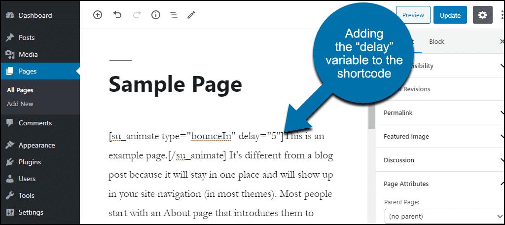 add shortcode delay variable
