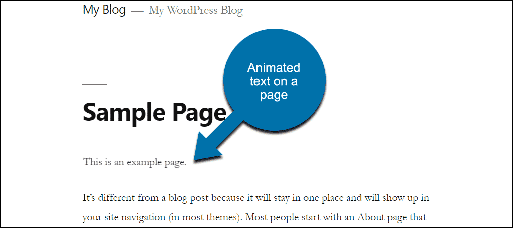 animation on page