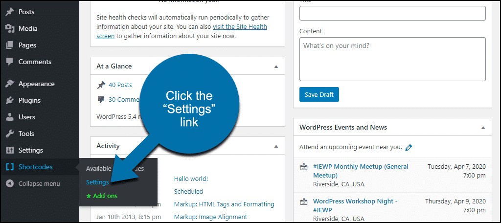 """click the """"Settings"""" link"""