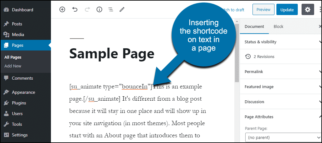 add shortcode to line of text