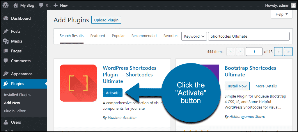 click to activate the WordPress Shortcodes Ultimate plugin
