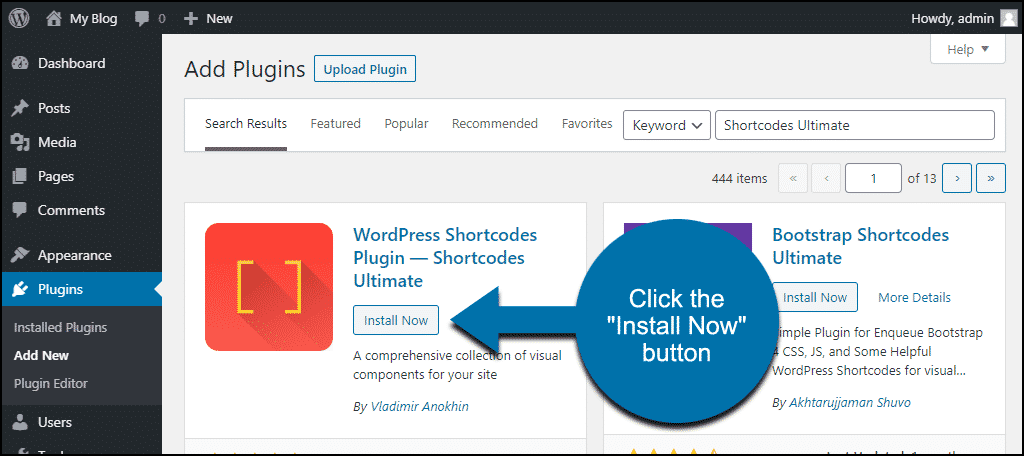 click to install the WordPress Shortcodes Ultimate plugin