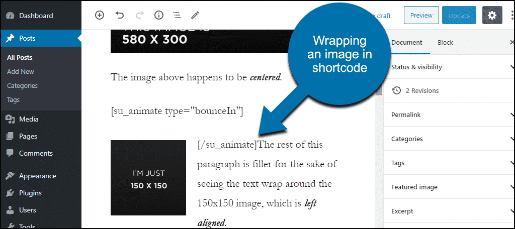 using shortcode on an image